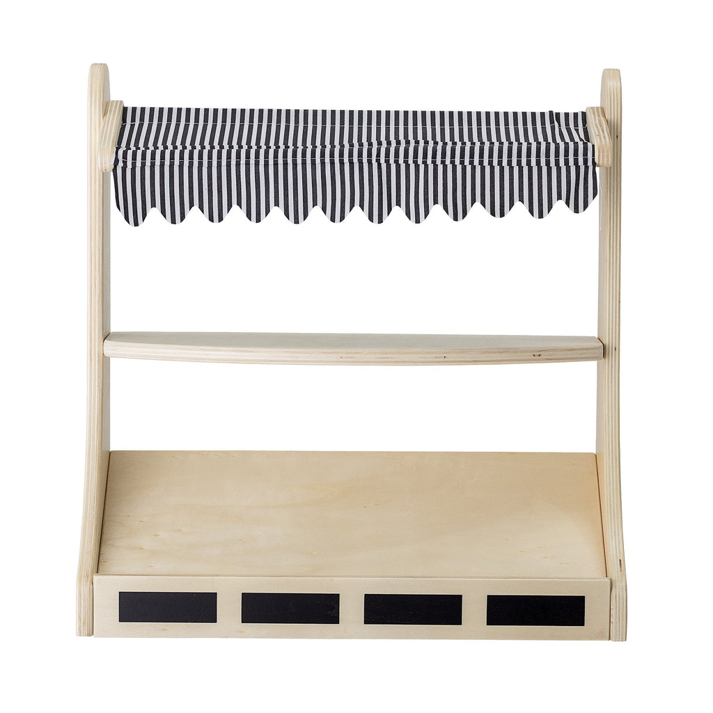 Play shop - a natural wooden stand with a striped canopy for little ones to play pretend shop. From Bloomingville Mini. Otis and the Wolf bringing you scandi style for little ones