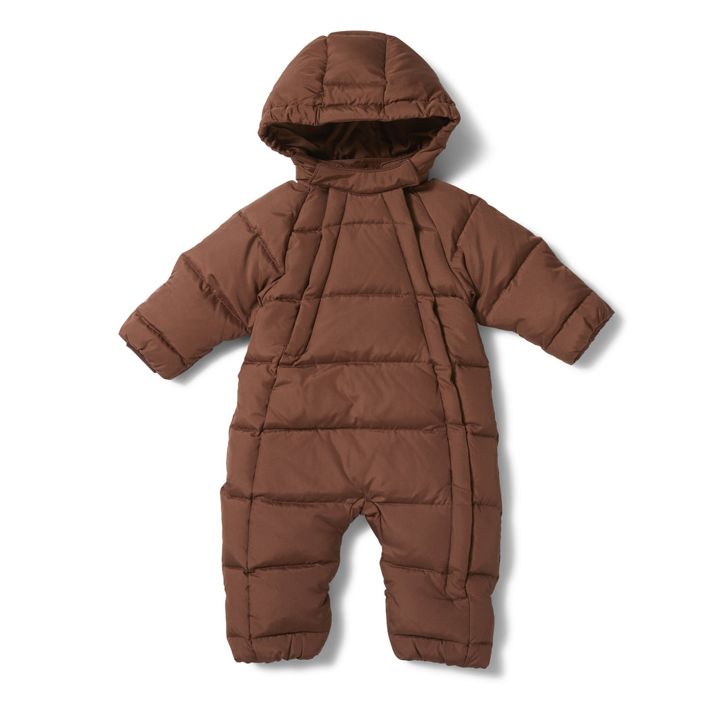 Baby Padded snowsuit with hood from Danish Brand Konges Slojd. Mocco colour makes it both unisex and easy to pair with anything. Otis and the Wolf - a children's curated lifestyle and interiors store bringing you Scandi style for little people bring you scandi