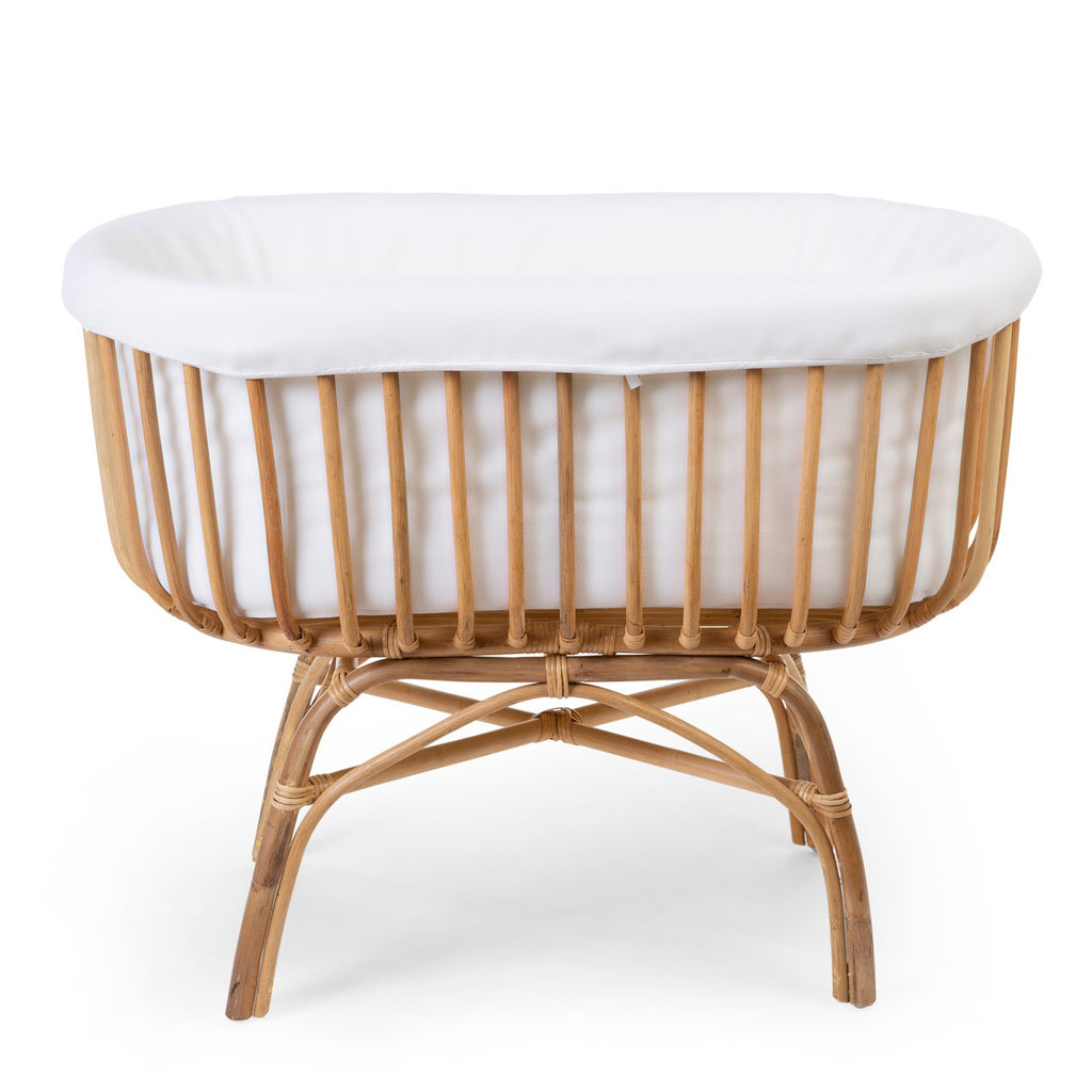 baby rattan cradle with mattress and white cover from Childhome. Otis and the Wolf - bringing you Scandi style for babies