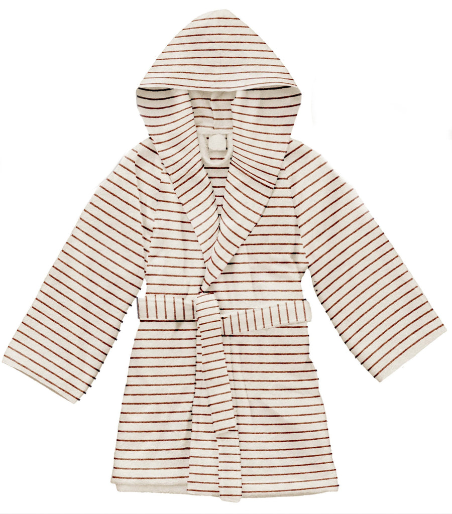 Kids Terry Bathrobe - Striped Biscuit