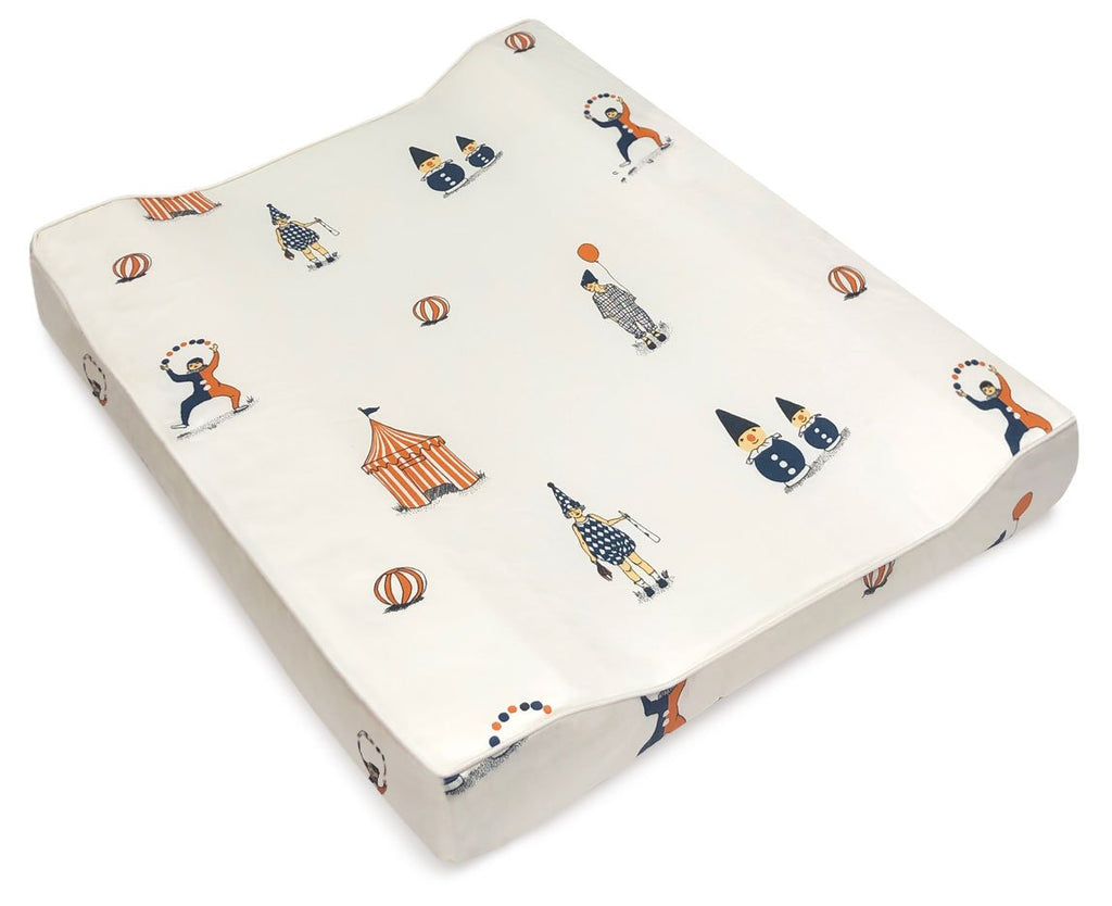 Changing Mat with clowns motif from Danish brand Gamcha - Otis and the Wolf bringing you beautiful scandi style for little ones