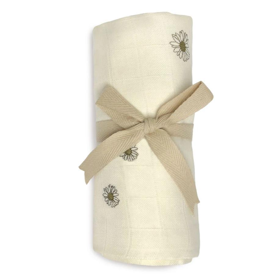 Organic cotton Baby Swaddle with Daisy Motif from Danish brand Gamcha - Otis and the Wolf bringing you Scandi style for little ones from nursery decor to clothing and toys to baby essentials