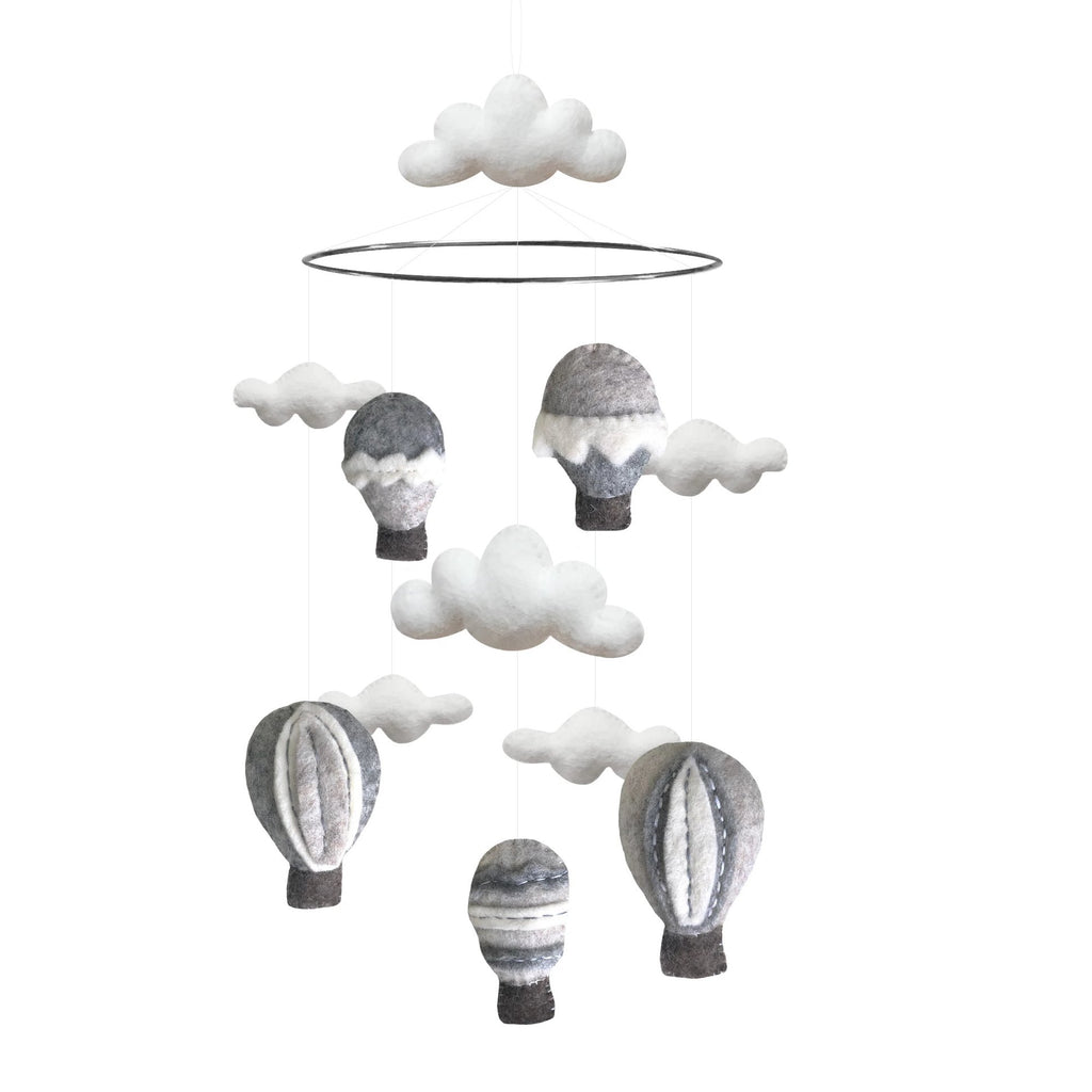 Gamcha Air Balloon & Cloud Mobile, grey. Otis and The Wolf - Scandinavian inspired design, toys and clothing for mamma, babies, toddlers, children and the modern nursery