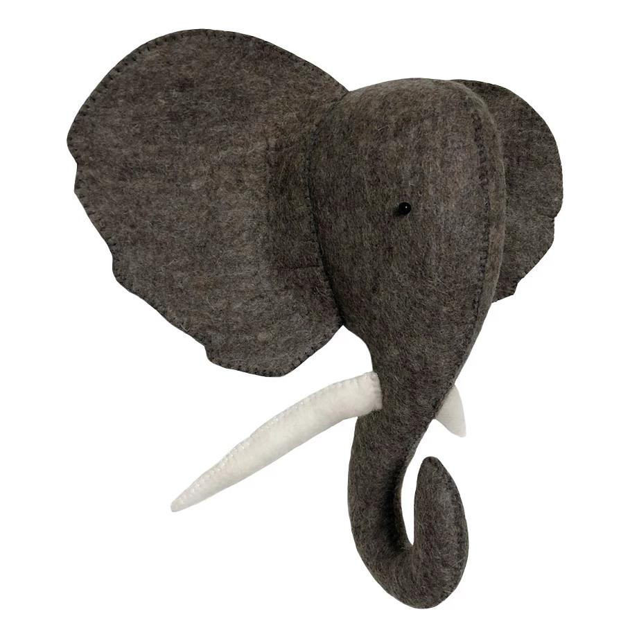 Gamcha Elephant animal wall mount. Otis and The Wolf - Scandinavian inspired design, toys and clothing for mamma, babies, toddlers, children and the modern nursery