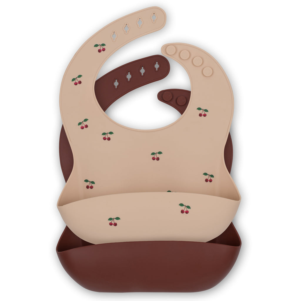 Baby Silicone Bibs - 2 Pack - Cherry & Mocca
