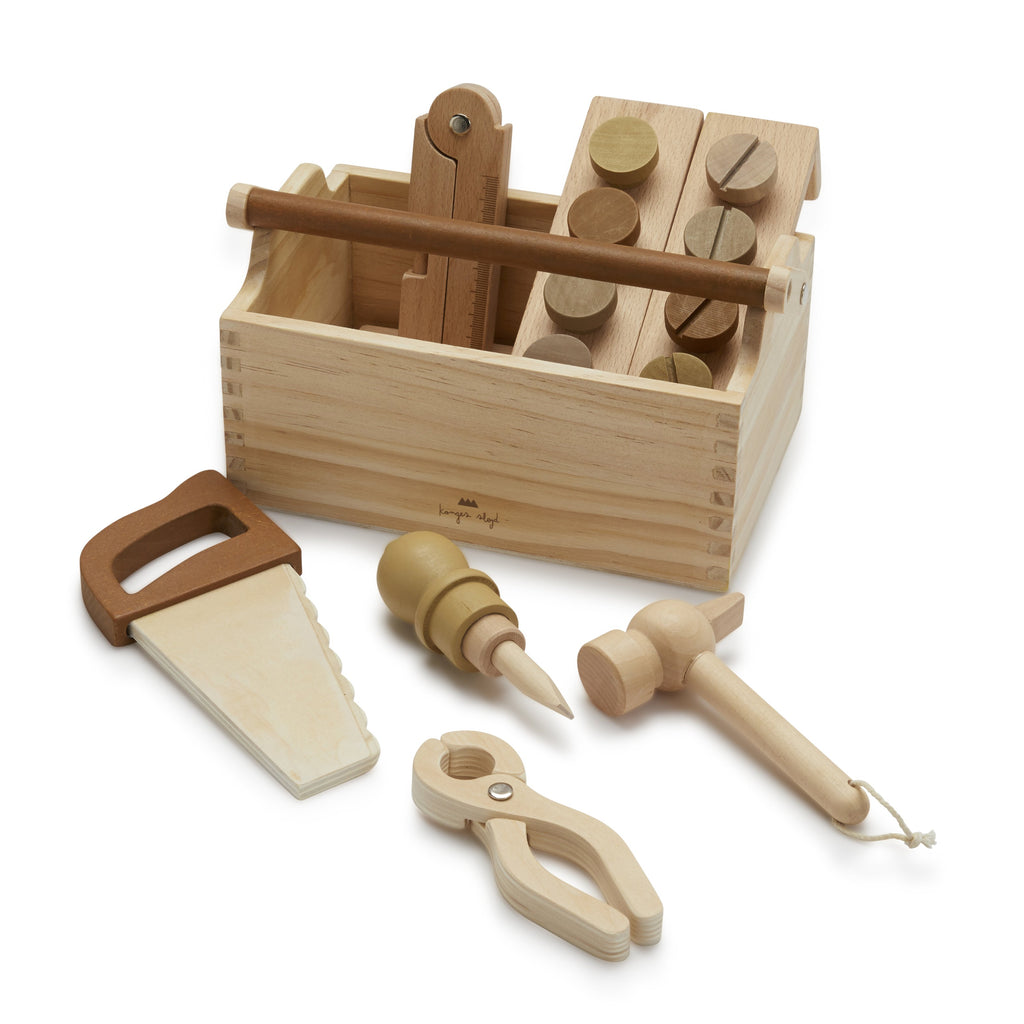 Tool Box from Konges Slojd. A beautiful wooden toy for little ones. The set contains a saw, hammer, screw driver, pliers, screws and nails, all contained in a neat open topped wooden box with handle.