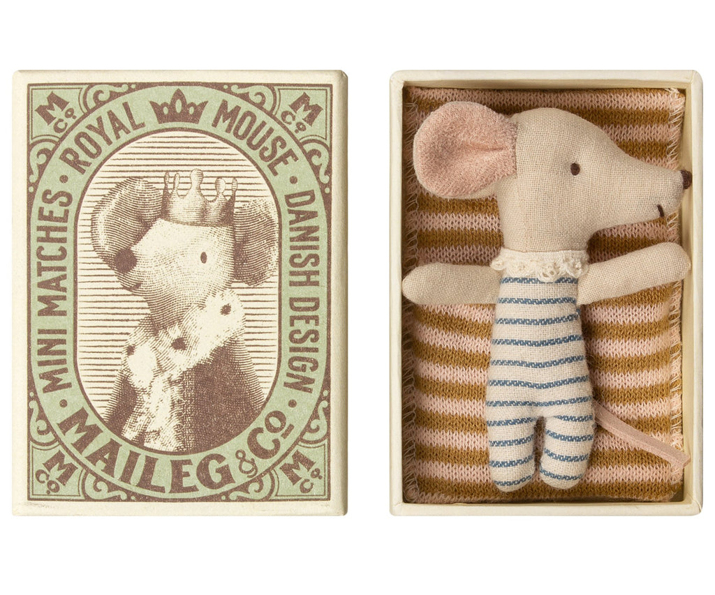 Maileg baby Mouse sleepy/wakey in a match box from Danish brand Maileg. Otis and the Wolf - bringing you Scandi style for little ones