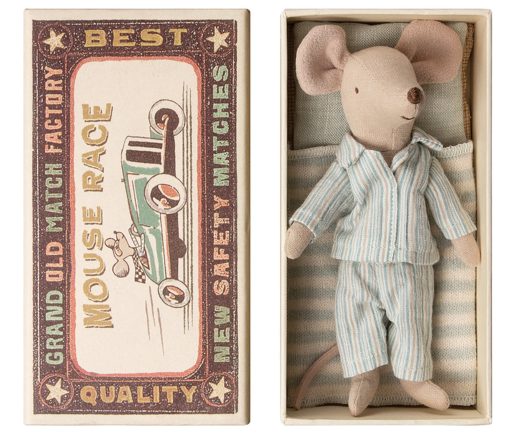 Big Brother Mouse in A Box from Danish Toy Brand Maileg. These cute litle mouse comes dressed in pjs woth a cute stripy bedding. Made from soft linen. Otis and the Wolf bringing you scandi style toys and decor for children and the home