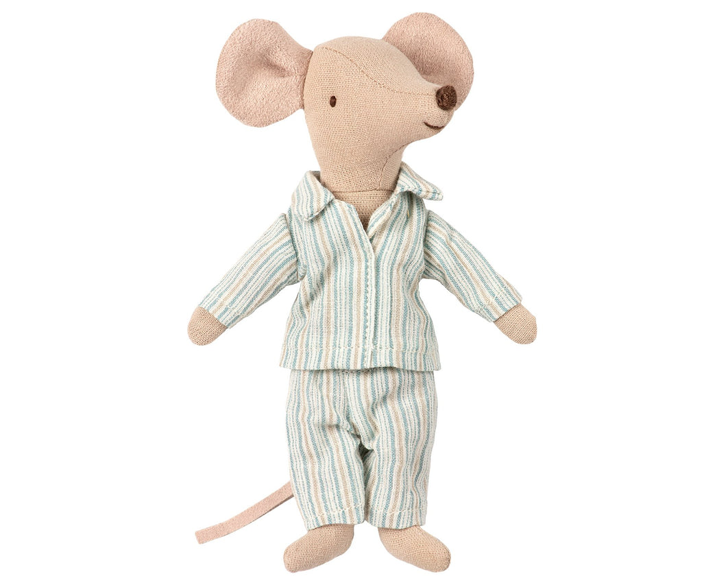 Big Brother Mouse dressed in his pyjamas and all tucked up for bed in his little handmade match box. This cute Danish design mouse is from Scandi children's brand Maileg and makes a very cute gift for a special little one. Otis and teh Wolf - bringing you Scandi style for children