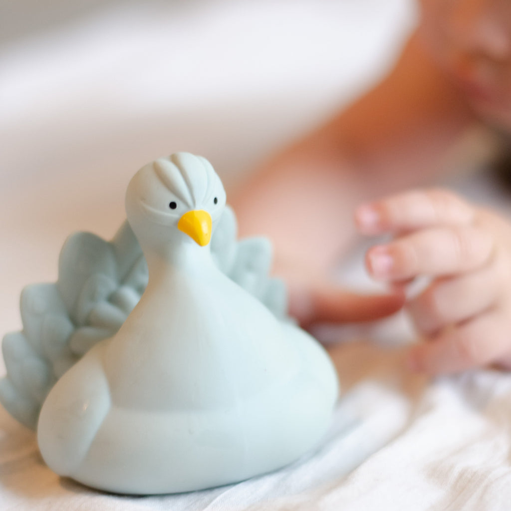 Peacock Bath Toy - Light Blue