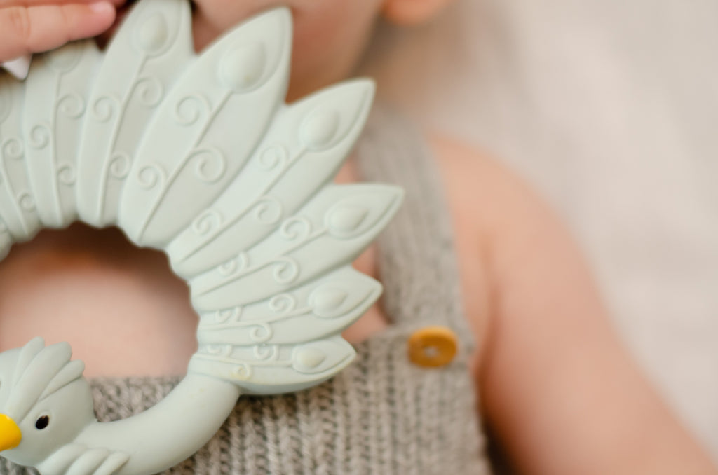 Peacock Teether - Light Blue