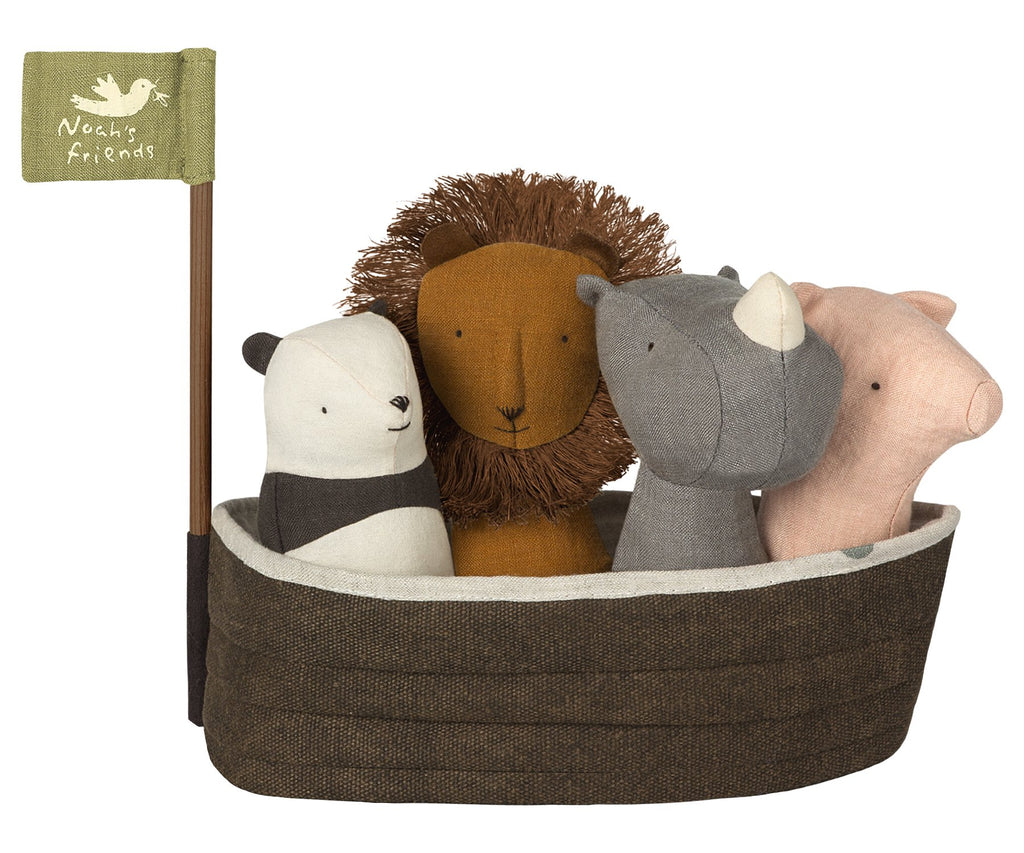 Noah's Ark with 4 Rattles from Maileg. Siper-soft linen rattles perfect gift for a new baby and help them learn about animals as well as imaginary play as they get older. Otis and the Wolf - bringing you Scandi style for little ones
