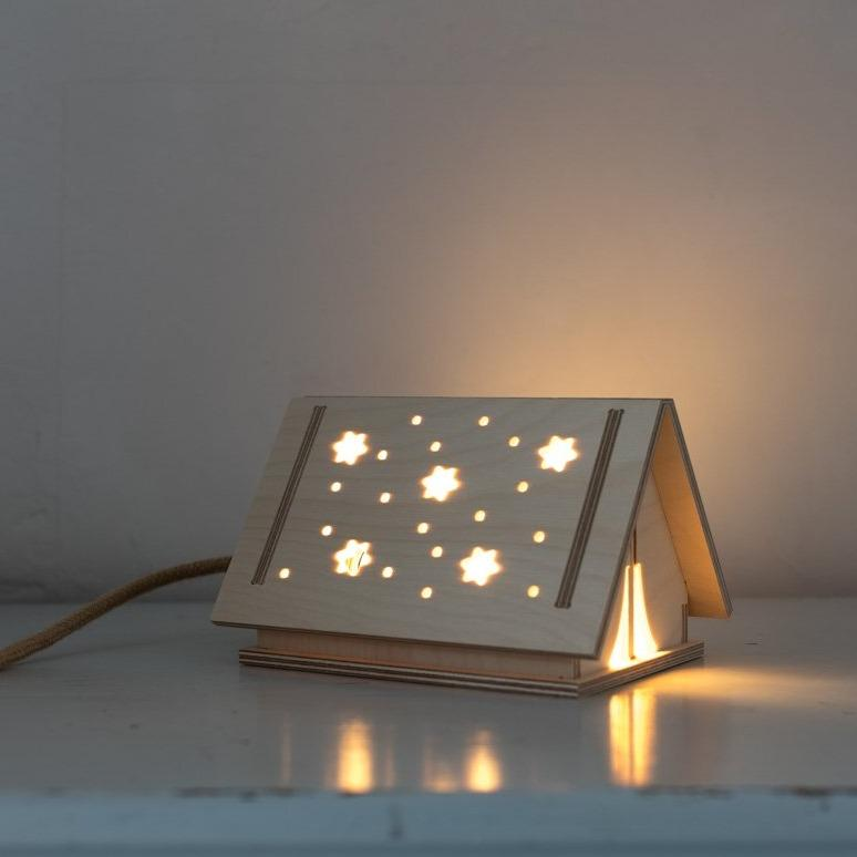 Scandi Style Birch wood Star Tent Children's Light. This nordic style Lamp is designed and made in Britain by Bright Corner
