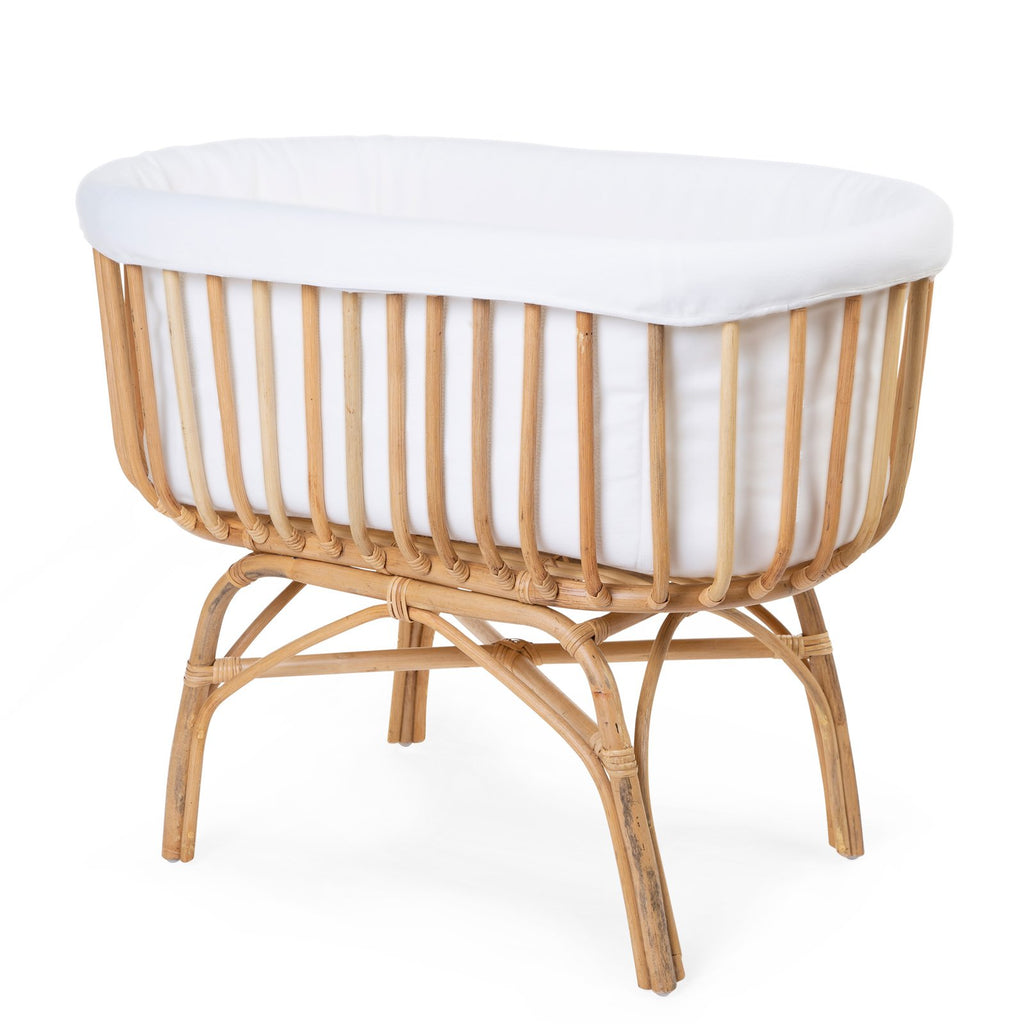 Bohemiam natural rattan cradle. Perfect for interior style lovers. Otis and the Wolf - bringing you Scandi style for little ones