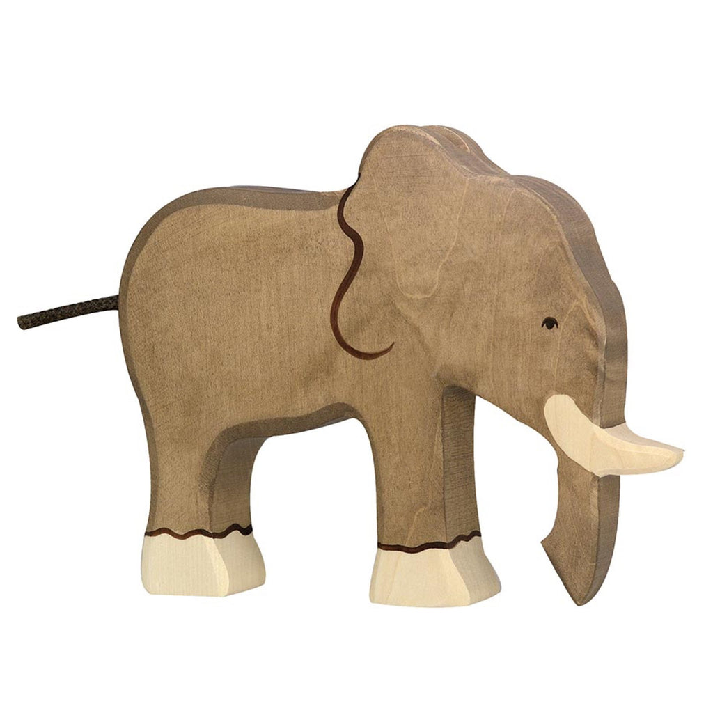 Wooden Elephant Toy from German brand Holztiger. Beautifully eco-friendly and handcrafted animal from maple and beech wood and painted using non-toxic water coloured paints. Both toy and nursery decor in one - perfect for imaginary play and to sit beautifully in a safari or animal themed nursery or child's bedroom.