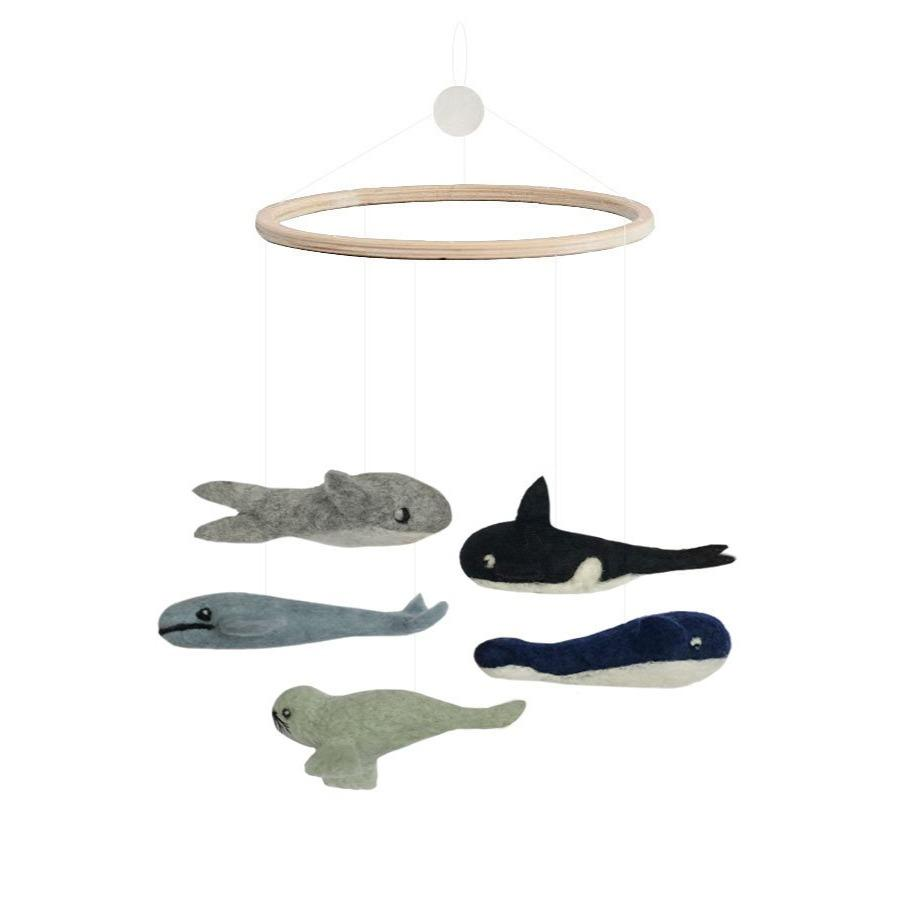 Ocean Mobile from Danish brand Gamcha. Beautiful handmade mobile with ocian animals including whales, sharks and seals with a wooden hoop. Otis and the Wolf bringing you scandi style for little ones and their nursery.
