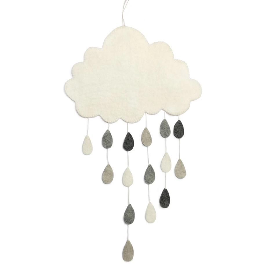 Cloud Mobile with Grey Raindrops