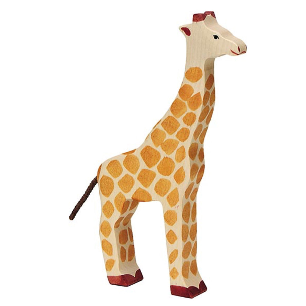 Wooden Zebra Toy from German brand Holztiger. Beautifully eco-friendly and handcrafted animal from maple and beech wood and painted using non-toxic water coloured paints. Both toy and nursery decor in one - perfect for imaginary play and to sit beautifully in a safari or animal themed nursery or child's bedroom.