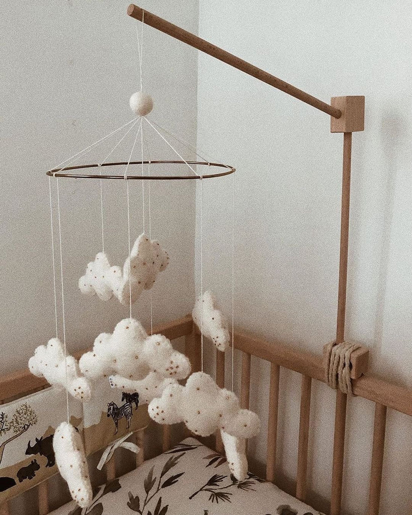 Baby Mobile - Clouds with Gold Beads