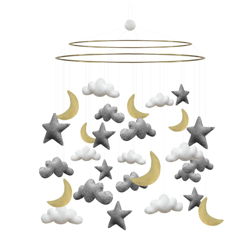 Large Baby Mobile - Night Sky Grey & Yellow