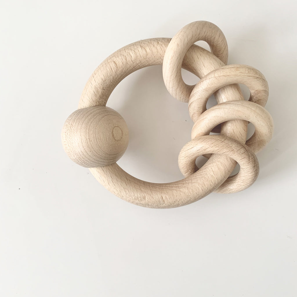 Wooden Rattle with Rings