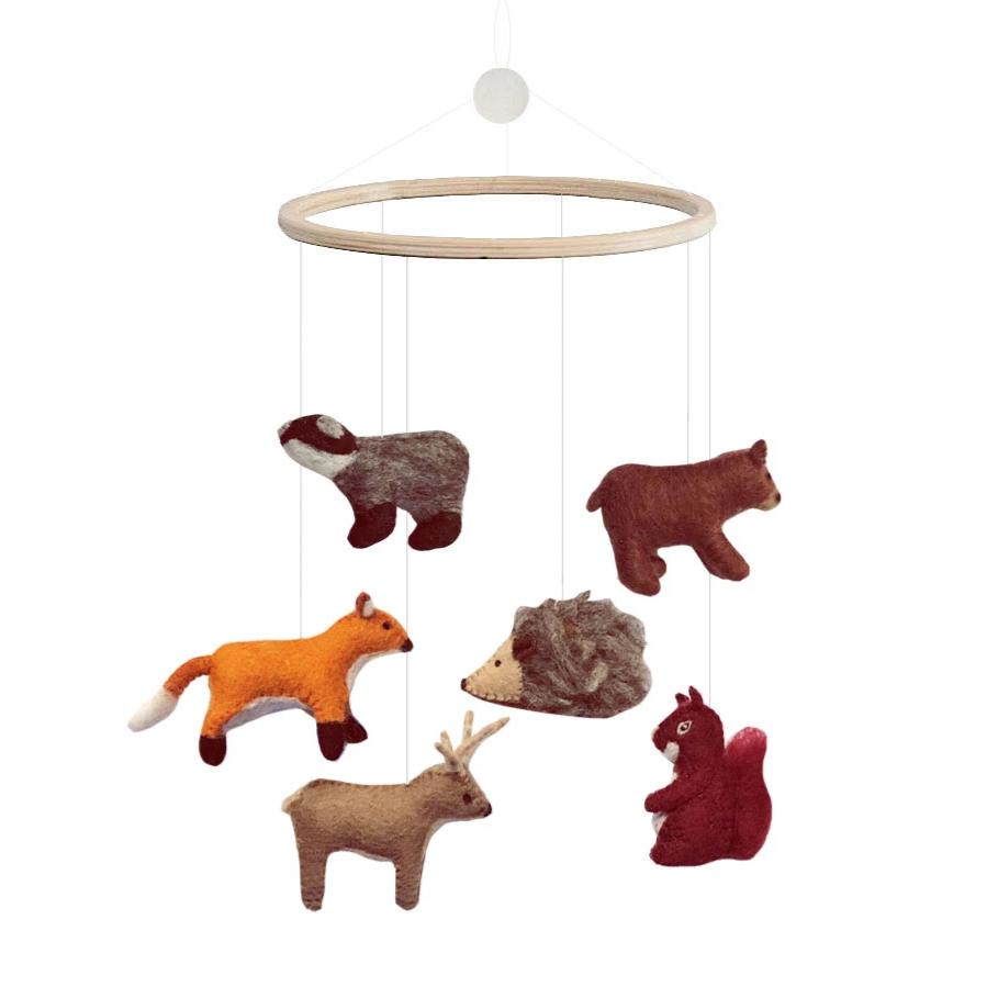 Woodland Mobile from Danish brand Gamcha - beautiful handmade mobile with 100% natural wool woodland animals. Otis and the Wolf bringing you scandi style for little ones and their nursery
