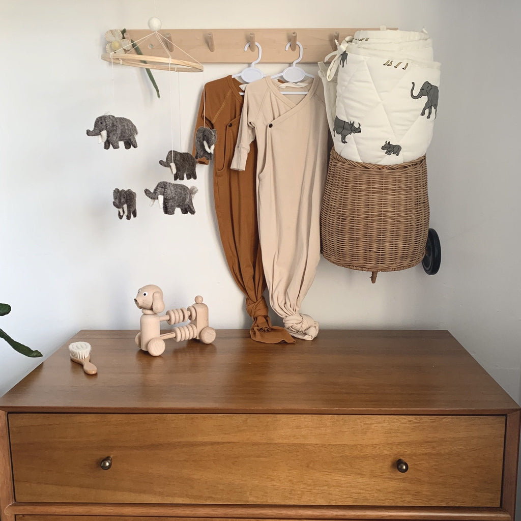 Elephant baby mobile/ A handmade mobile with grey elephants hanging from a wooden ring. Created by Danish brand gamcha and handmade in Nepal. A beautful finishing ouch to a little ones nursery. Otis and the Wolf bringing you Scandi style for little ones