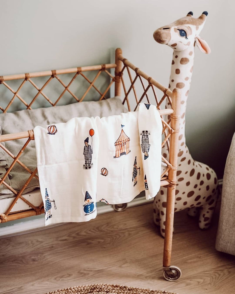 Organic Cotton Swaddle with Clown Motif from Danish Brand Gamcha - Otis and the Wolf bringing you Scandi style for little ones