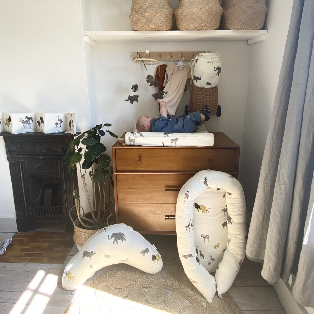 Elephant baby mobile. A handmade mobile with grey elephants hanging from a wooden ring. Created by Danish brand Gamcha and makes up part of the Safari Nursery Collection. Lovingly handmade in Nepal. A beautiful finishing ouch to a little ones nursery. Otis and the Wolf bringing you Scandi style for little ones