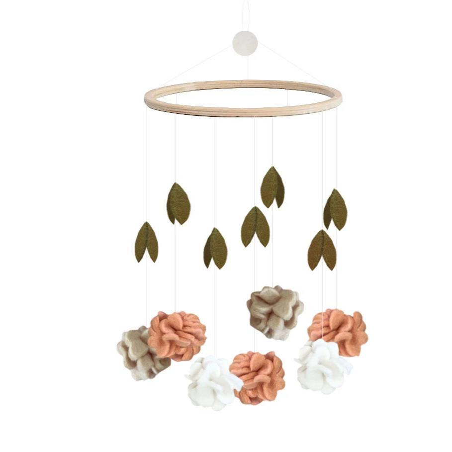 Flower Mobile from Danish brand Gamcha - beautful handmade mobile with 100% natural wool flowers and leaves. Otis and the Wolf bringing you scandi style for little ones and their nursery