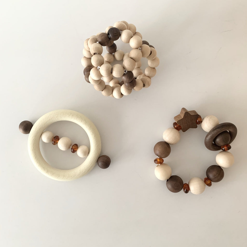 Natural Wood + Amber Rattle with Star - Heimess - Nature Range - Otis and the Wolf - Scandi style for little ones from toys and clothing to nursery decor and baby essentials