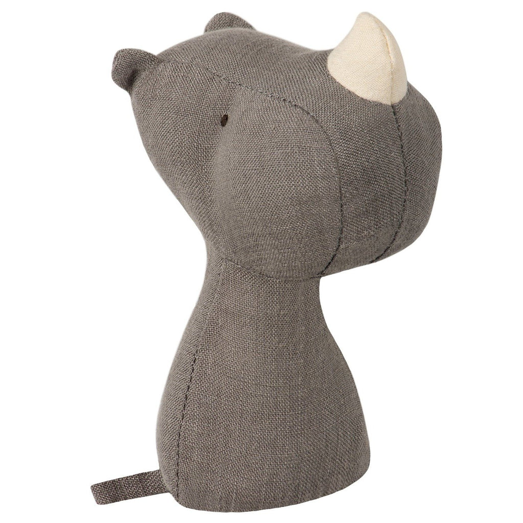 Rhino Rattle from Danish brand Maileg. This soft baby rattle is made from linen. Otis and the Wolf - bringing you Scandi style for babies and children