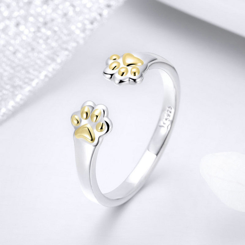 925 Sterling Silver Adjustable Paw Print Ring