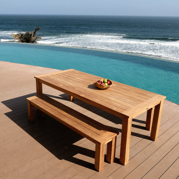 designer teak outdoor dining. By S2dio fine furniture