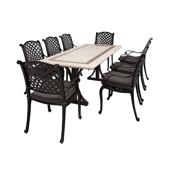 9 pce nassau and cairo stone table setting outdoor at the springs outdoor furniture