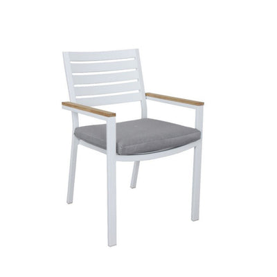 Clay outdoor dining chair, featuring teak accents. Available at the springs garden world toowoomba. Toowomba's outdoor furniture specialists
