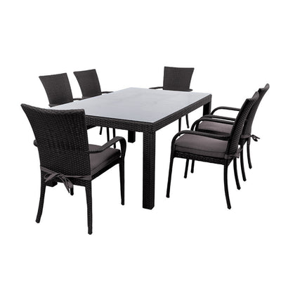 8 seater wicker outdoor dining setting. Available at The Springs Garden World Toowoomba