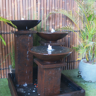 GI TRIPLE BOWL FOUNTAIN RUST