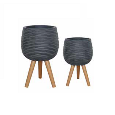 Wave Drum Tripod Planter