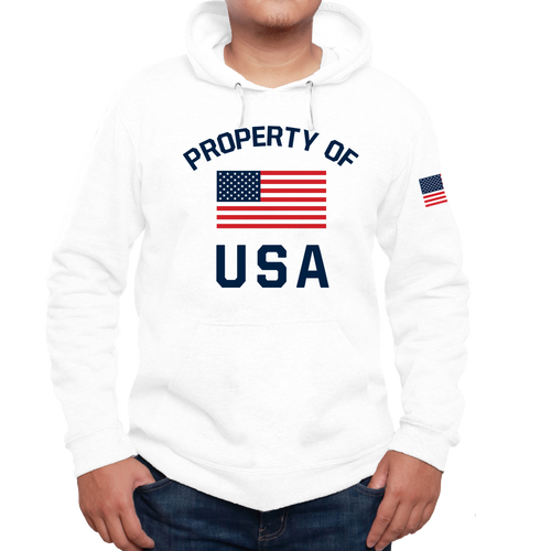 Property of USA American Flag Sporty and Athletic Hoodies For Men