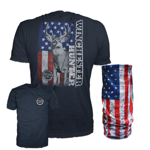 Winchester Men's T-Shirt with Matching US Flag Face Shield Mask