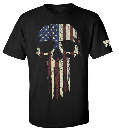 5 Star Skull USA Vintage American Flag Men's Short Sleeve T-Shirt