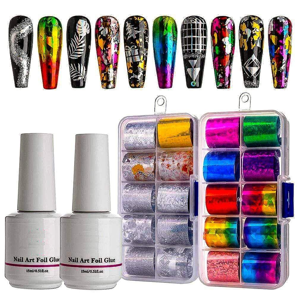 Sparkle Red 200001154 20Pcs Flower and Metal Home Nail Art & Glue 14:200002130#A2 Nail foil kit;200007763:201336106