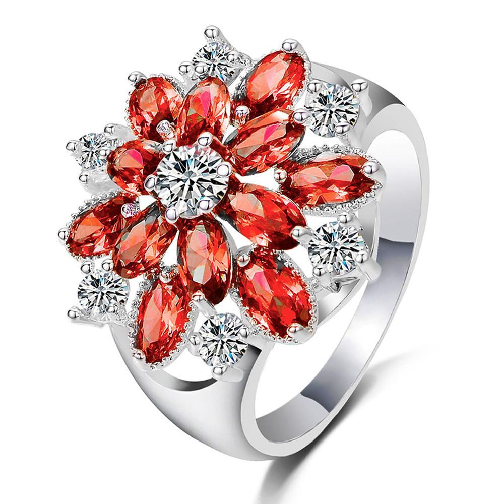 Sparkle Red 7 Full Diamond Filed Red Flowers Floral Ring