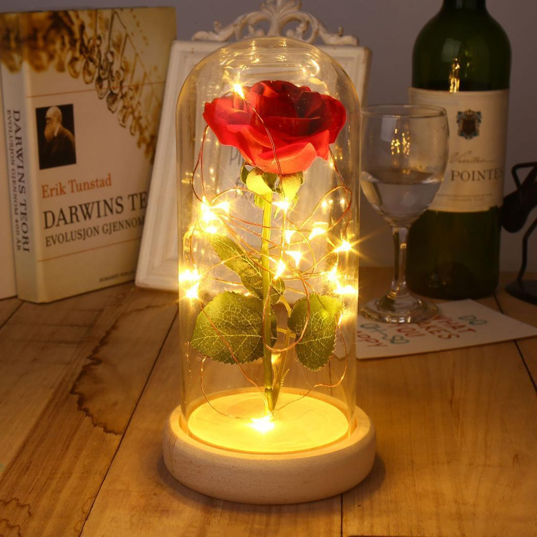 Sparkle Red Artificial & Dried Flowers Light Brown Base Enchanted Red Silk Rose 14:771