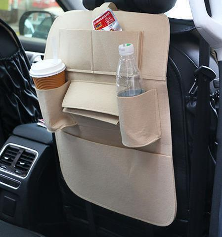 Sparkle Red Beige Multi-Pocket Car Backseat Organizer