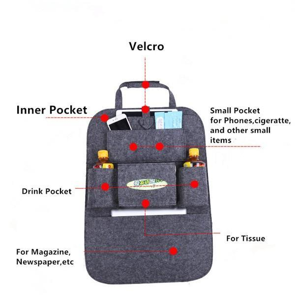 Sparkle Red Black Multi-Pocket Car Backseat Organizer