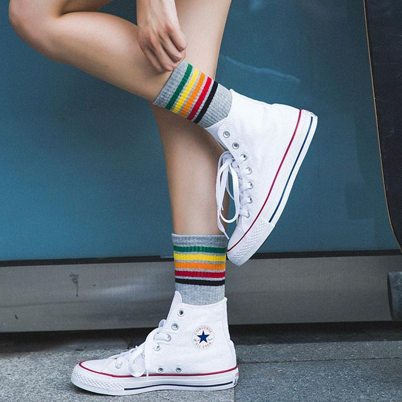 Sparkle Red Black / One Size Harajuku Rainbow Socks