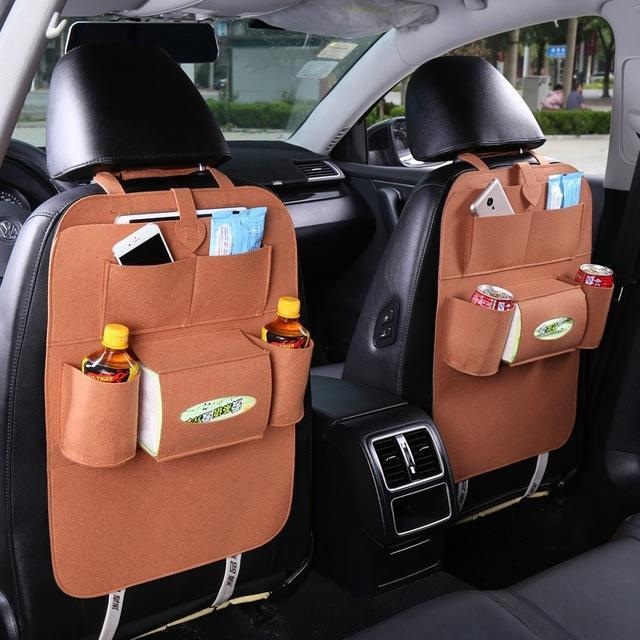 Sparkle Red Brown Multi-Pocket Car Backseat Organizer