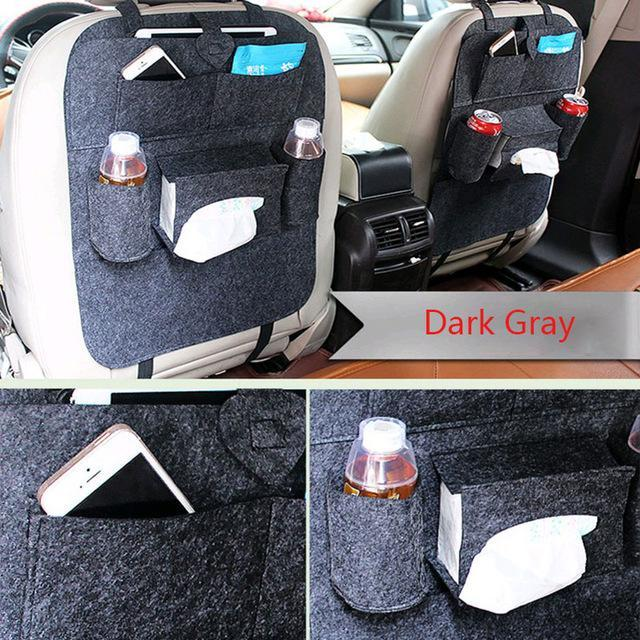 Sparkle Red Dark Gray Multi-Pocket Car Backseat Organizer